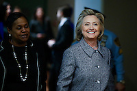 Former US Secretary of State Hillary Clinton arrives for a press conference about her personal email account at United Nations Headquarters in New York. 10.03.2015. Eduardo Munoz Alvarez/VIEWpress.