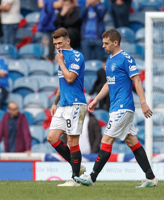 01.09.2019 Rangers v Celtic: Ryan Jack and Jon Flanagan dejection