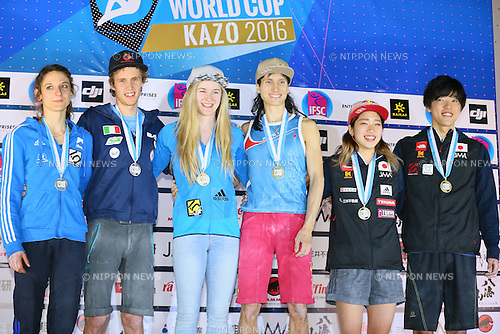 (L to R) <br /> Melissa Le Neve (FRA), <br /> Michael Piccolruaz (ITA), <br /> Shauna Coxsey (GBR), <br /> Rustam Gelmanov (RUS), <br /> Akiyo Noguchi, <br /> Kokoro Fujii (JPN), <br /> APRIL 24, 2016 - Sports Climbing : <br /> IFSC Climbing World Cup - Bouldering Kazo 2016 <br /> Men's &amp; Women's Award Ceremony <br /> at Kazo Civic Gymnasium, Saitama, Japan. <br /> (Photo by YUTAKA/AFLO SPORT)