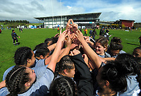 The St Mary's team huddles after winning the 2017 1st XV rugby Top Four girls' final between St Mary's College and Hamilton Girls' High School at Sport and Rugby Institute in Palmerston North, New Zealand on Sunday, 10 September 2017. Photo: Dave Lintott / lintottphoto.co.nz