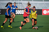 Kansas City, MO - Thursday August 10, 2017: Brittany Taylor, Katie Bowen, Desiree Scott during a regular season National Women's Soccer League (NWSL) match between FC Kansas City and the North Carolina Courage at Children's Mercy Victory Field.
