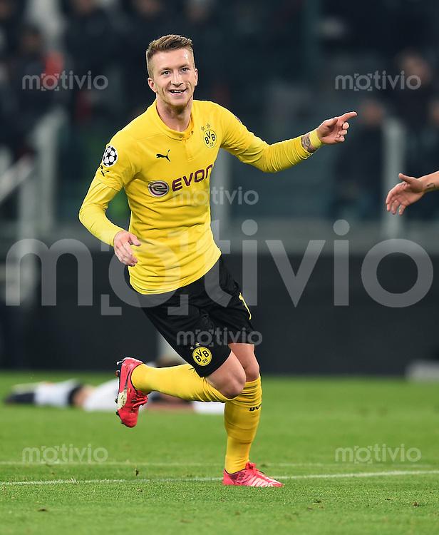 FUSSBALL  CHAMPIONS LEAGUE  SAISON 2014/2015  ACHTELFINAL HINSPIEL Juventus Turin - Borussia Dortmund                           24.02.2015 Jubel nach dem Tor zum 1:1: Torschuetze Marco Reus (Borussia Dortmund)