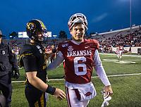 Hawgs Illustrated/BEN GOFF <br /> Ben Hicks (6), Arkansas quarterback, greets Taylor Powell, Missouri quarterback, after the game Saturday, Nov. 29, 2019, at War Memorial Stadium in Little Rock.