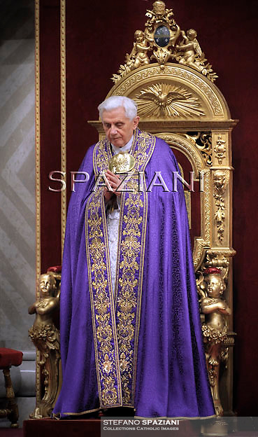 Pope Benedict XVI during the celebration of the first Vespers in the St. Peter's Basilica in Vatican on November 27, 2010.