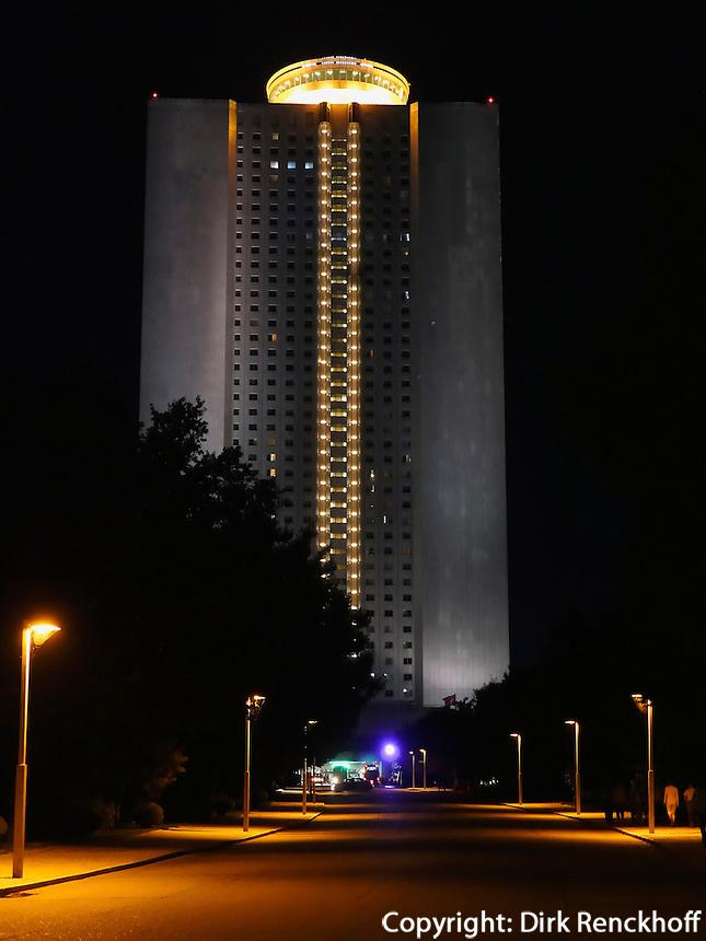 Yanggakdo-Hotel, Pyongyang, Nordkorea, Asien<br /> Yanggakdo-Hotel, Pyonyang, North Korea, Asia