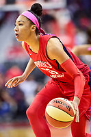 Washington, DC - August 12, 2018: Washington Mystics forward Aerial Powers (23) handles the ball during game between the Washington Mystics and the Dallas Wings at the Capital One Arena in Washington, DC. (Photo by Phil Peters/Media Images International)