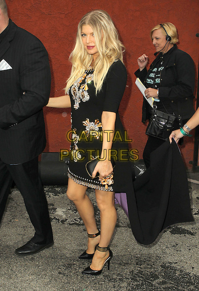 Fergie (Stacy Ferguson) of Black Eyed Peas .2013 NewNowNext Awards held at The Fonda Theatre, Los Angeles, California, USA, 13th April 2013..full length black dress pregnant embellished beaded train ankle strap shoes gold trim clutch bag maternity purple assistant carrying holding .CAP/ADM/KB.©Kevan Brooks/AdMedia/Capital Pictures
