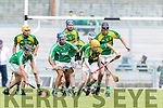 Robert Collins Kilmoyley in action against Liam Boyle Ballyduff in the County Senior Hurling Final at Austin Stack Park on Sunday.