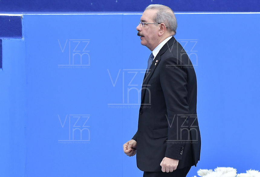 BOGOTÁ - COLOMBIA, 07-08-2018: Danilo Medina, presidente de República Dominicana,  durante la ceremonia de juramento en donde Ivan Duque, toma posesión como presidente de la República de Colombia para el período constitucional 2018 - 22 en la Plaza Bolívar el 7 de agosto de 2018 en Bogotá, Colombia. / Danilo Medina, president of Dominican Republic, during the swearing ceremony where Ivan Duque, takes office to constitutional term as president of the Republic of Colombia 2018 - 22 at Plaza Bolivar on August 7, 2018 in Bogota, Colombia. Photo: VizzorImage/ Gabriel Aponte / Staff