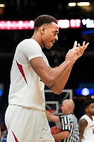 NWA Democrat-Gazette/CHARLIE KAIJO Arkansas Razorbacks forward Daniel Gafford (10) reacts during the Southeastern Conference Men's Basketball Tournament, Thursday, March 8, 2018 at Scottrade Center in St. Louis, Mo.