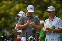 Brooks Koepka (USA) marks a new ball before his tee shot on 9 during round 3 of the Fort Worth Invitational, The Colonial, at Fort Worth, Texas, USA. 5/26/2018.<br /> Picture: Golffile | Ken Murray<br /> <br /> All photo usage must carry mandatory copyright credit (&copy; Golffile | Ken Murray)