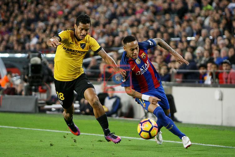 League Santander 2016/2017. Game: 12.<br /> FC Barcelona vs Malaga CF: 0-0.<br /> Roberto Rosales vs Neymar Jr.