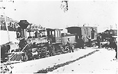 3/4 fireman's-side view of a D&amp;RG Class 35 Mogul standing with a work train and her crews.<br /> D&amp;RG