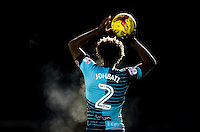 Sido Jombati of Wycombe Wanderers takes a throw in during the The Checkatrade Trophy Southern Group D match between Wycombe Wanderers and Coventry City at Adams Park, High Wycombe, England on 9 November 2016. Photo by Andy Rowland.