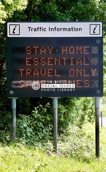 Covid 19 - Traffic information sign on the A31 during Coronavirus lockdown, Dorset UK May 2020