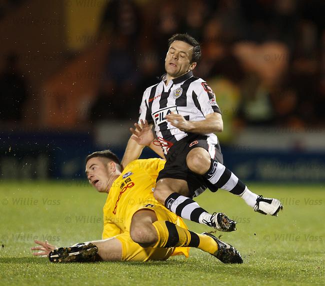 Andy Geggan flies into Steven Thomson