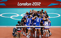 12.08.2012. London, England. Italian Players Celebrate After defeating Bulgaria in the mens  Volleyball Bronze Medal Match London 2012 Olympic Games Italy Won 3 1