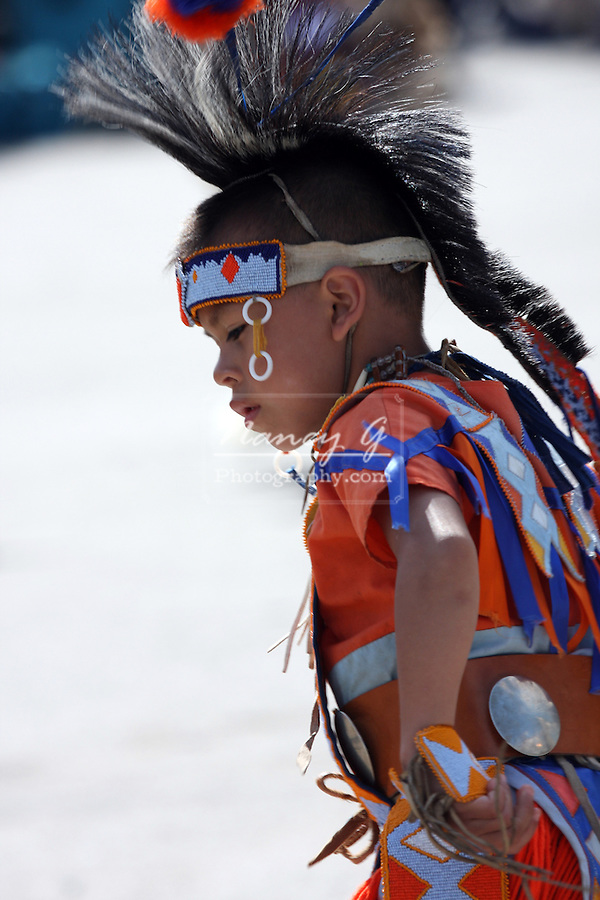 A young Native American boy dancing at a Pow Wow at the Milwaukee Lakefront Indian Summer Festival, Wisconsin