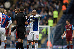 Blackburn Rovers player El Hadji Diouf making a point to the referee   during his team's Barclays Premier League match against visitors Aston Villa at Ewood Park. Blackburn won the match by two goals to nil watched by a crowd of 21,848. It was Rovers' first match under the ownership of Indian company Venky's.