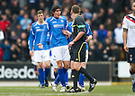 St Johnstone v Rangers...14.01.12  .Fran Sandaza argues with ref Craig Thomson that Jelavic was offside for the first goal.Picture by Graeme Hart..Copyright Perthshire Picture Agency.Tel: 01738 623350  Mobile: 07990 594431