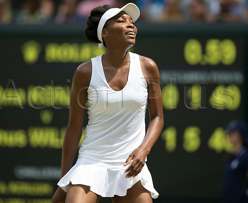 July 10th 2017, All England Lawn Tennis and Croquet Club, London, England; The Wimbledon Tennis Championships, Day 7; Venus Williams (USA) looks up in to the sun during her match against Ana Konjuh (CRO)