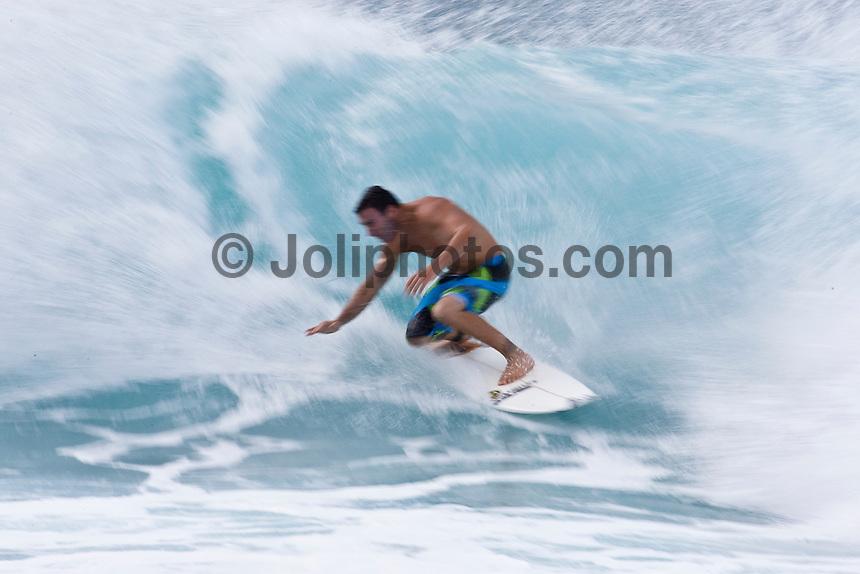 JOEL PARKINSON (AUS) surfing at Off The Wall-Backdoor, North Shore of Oahu, Hawaii. Photo: joliphotos.com