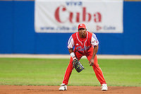 24 September 2009: First base Ariel Borrero of Cuba is seen on defense during the 2009 Baseball World Cup final round match won 5-3 by Team USA over Cuba, in Nettuno, Italy.