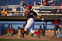 Batavia Muckdogs second baseman Giovanny Alfonzo (8) at bat during a game against the Mahoning Valley Scrappers on June 24, 2015 at Dwyer Stadium in Batavia, New York.  Batavia defeated Mahoning Valley 1-0 as three Muckdogs pitchers combined to throw a perfect game.  (Mike Janes/Four Seam Images)