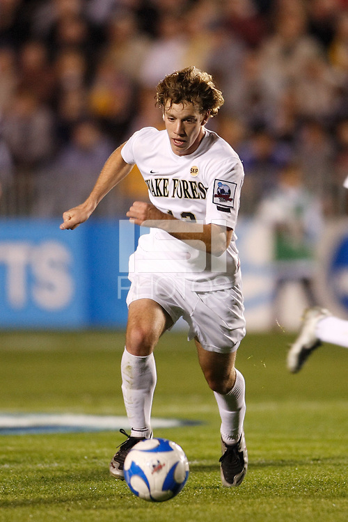 Wake Forest Demon Deacons forward Zack Schilawski (12) during an NCAA College Cup semi-final match against the Virginia Tech Hokies at SAS Stadium in Cary, NC on December 14, 2007. Wake Forest defeated Virginia Tech 2-0.