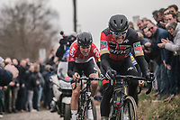 Greg Van Avermaet (BEL/BMC) and Tiesj Benoot (BEL/Lotto Soudal) chasing on the cobbles of the 'oude kwaremont'<br /> <br /> 61th E3 Harelbeke 2018 (1.UWT)<br /> Harelbeke › Harelbeke - BEL (206km)