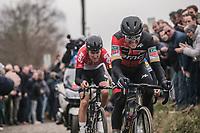 Greg Van Avermaet (BEL/BMC) and Tiesj Benoot (BEL/Lotto Soudal) chasing on the cobbles of the 'oude kwaremont'<br /> <br /> 61th E3 Harelbeke 2018 (1.UWT)<br /> Harelbeke &rsaquo; Harelbeke - BEL (206km)