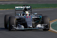 March 15, 2015: Lewis Hamilton (GBR) #44 from the Mercedes AMG Petronas F1 Team  rounds turn 2 during the 2015 Australian Formula One Grand Prix at Albert Park, Melbourne, Australia. Photo Sydney Low
