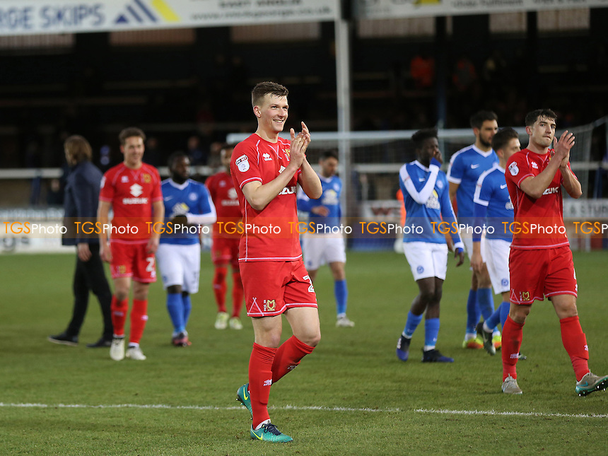 Paul Downing of MK Dons smiles at the away support as he walks to the dressing room at the end of the match during Peterborough United vs MK Dons, Sky Bet EFL League 1 Football at London Road on 28th January 2017