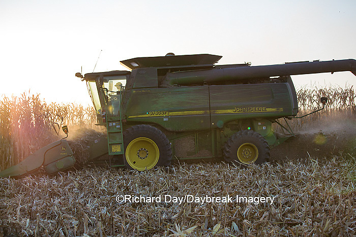 63801-06619 John Deere combine harvesting corn, Marion Co., IL