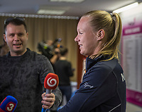Bratislava, Slovenia, April 21, 2017,  FedCup: Slovakia-Netherlands, Draw ceremony, interview with Kiki Bertens (NED)<br /> Photo: Tennisimages/Henk Koster