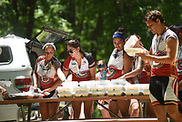 NWA Democrat-Gazette/FLIP PUTTHOFF <br /> Riders eat lunch Tuesday June 20 2017 in the picnic area at Pea Ridge National Military Park.