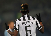 Paul Pogba  celebrates after scoring   in action during the Italian Serie A soccer match between   SS Lazio and FC Juventus   at Olimpico  stadium in Rome , November 22, 2014
