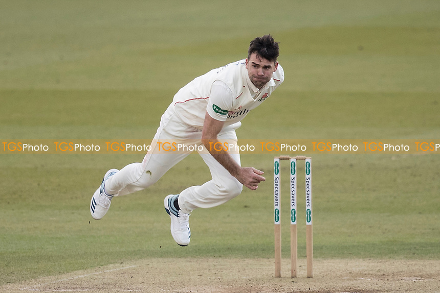 James Anderson of Lancashire CCC follow through during Middlesex CCC vs Lancashire CCC, Specsavers County Championship Division 2 Cricket at Lord's Cricket Ground on 13th April 2019