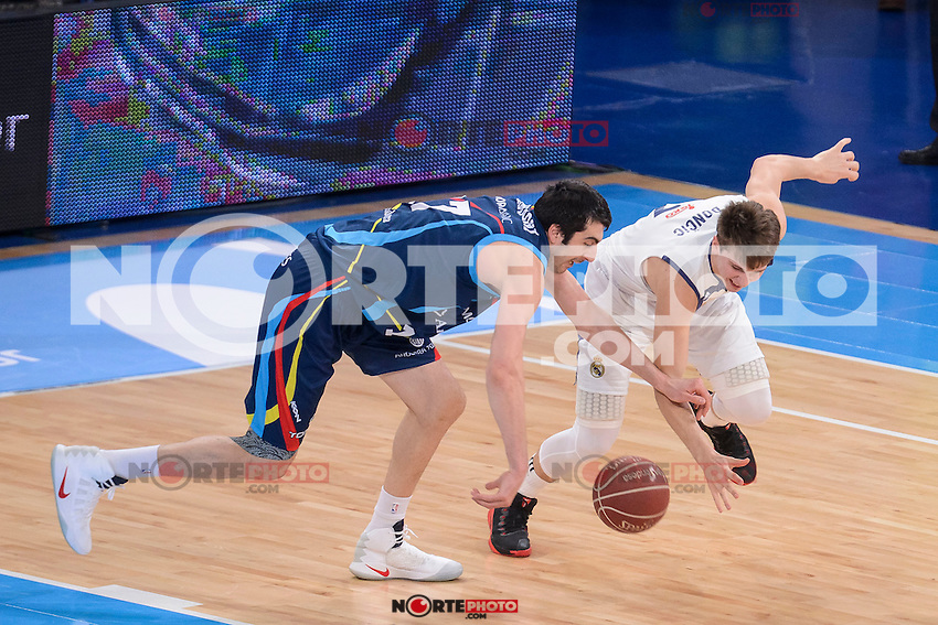 Real Madrid's Luka Doncic and Morabanc Andorra's Giorgi Shermadini during Quarter Finals match of 2017 King's Cup at Fernando Buesa Arena in Vitoria, Spain. February 16, 2017. (ALTERPHOTOS/BorjaB.Hojas) /Nortephoto.com