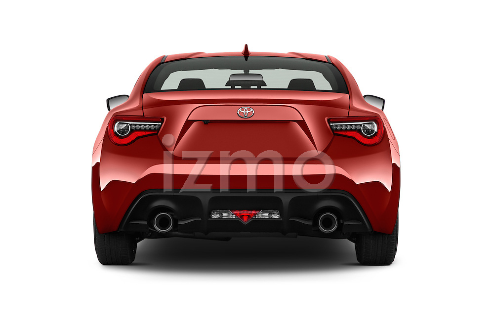 Straight rear view of 2017 Toyota 86 Automatic 2 Door Coupe Rear View  stock images