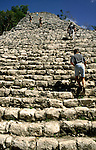 stairs to the top of the Nohoch-Mul pyramid in Coba, Mexico, Central America