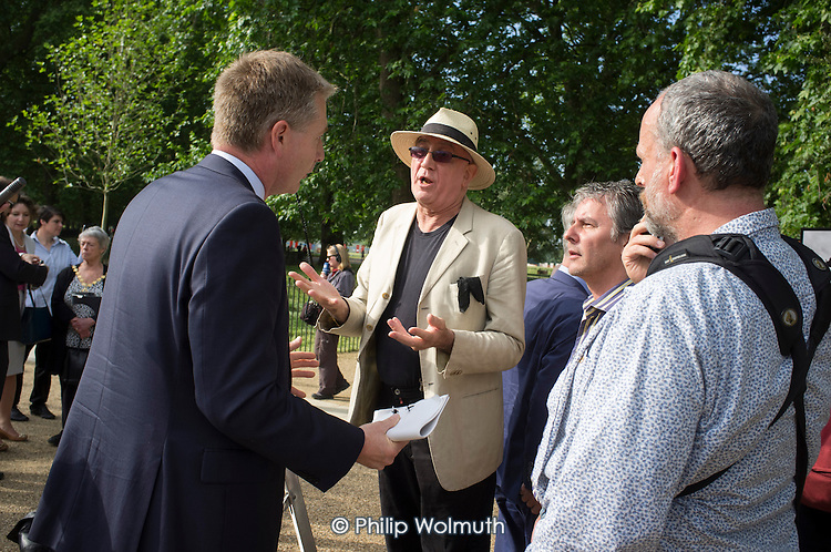 Tony Allen and Heiko Khoo argue with Royal Parks senior management.  Opening of the newly re-landscaped speaking area at Speakers' Corner, Hyde Park, London.
