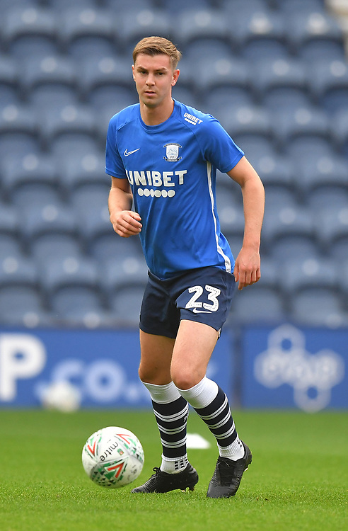 Preston North End's Paul Huntington<br /> <br /> Photographer Dave Howarth/CameraSport<br /> <br /> The Carabao Cup Second Round - Preston North End v Hull City - Tuesday 27th August 2019  - Deepdale Stadium - Preston<br />  <br /> World Copyright © 2019 CameraSport. All rights reserved. 43 Linden Ave. Countesthorpe. Leicester. England. LE8 5PG - Tel: +44 (0) 116 277 4147 - admin@camerasport.com - www.camerasport.com