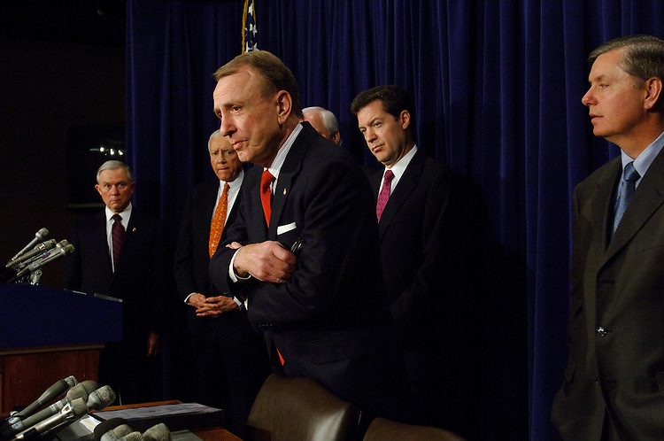 01/24/06.ALITO NOMINATION--Senators Jeff Sessions, R-Ala., Orrin G. Hatch, R-Utah, Chairman Arlen Specter, R-Pa., Sam Brownback, R-Kan., and Lindsey Graham, R-S.C., during a news conference after the Senate Judiciary Committee voted 10-8 along party lines Tuesday to approve the nomination of Samuel A. Alito Jr. to the Supreme Court. The full Senate will take up the nomination Wednesday; a close confirmation vote is expected within the next several days..CONGRESSIONAL QUARTERLY PHOTO BY SCOTT J. FERRELL