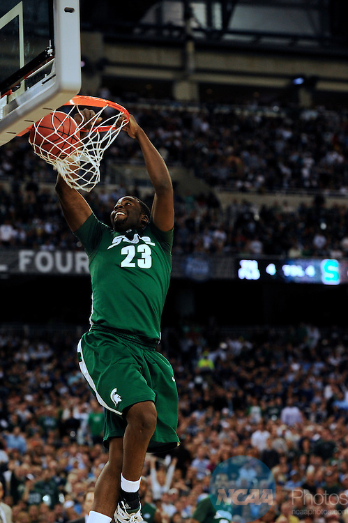 2009 APR 04: Draymond Green (23) of Michigan State University dunks the ball during the semifinal game of the 2009 NCAA Final Four Division I Men's Basketball championships held at Ford Field in Detroit, MI.  Michigan State defeated Connecticut 82-73 to advance to the championship game. Rich Clarkson/NCAA Photos