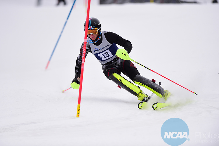 FRANCONIA, NH - MARCH 10:   Erik Read of the University of Denver competes during the Men's Slalom event at the Division I Men's and Women's Skiing Championships held at Cannon Mountain on March 10, 2017 in Franconia, New Hampshire. (Photo by Gil Talbot/NCAA Photos via Getty Images)