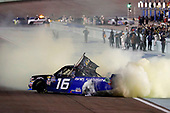 #16: Brett Moffitt, Hattori Racing Enterprises, Toyota Tundra AISIN Group celebrates his win with a burnout