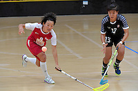 Singapore&rsquo;s Jill Quek in action during the World Floorball Championships 2017 Qualification for Asia Oceania Region - Singapore v Thailand at ASB Sports Centre , Wellington, New Zealand on Sunday 5 February 2017.<br /> Photo by Masanori Udagawa<br /> www.photowellington.photoshelter.com.