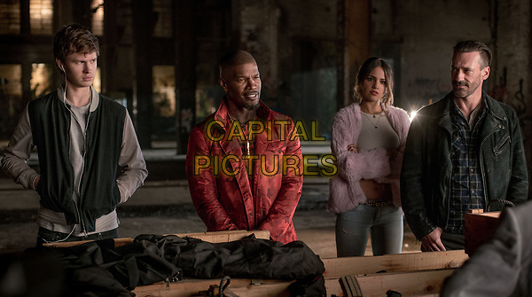 Baby Driver (2017) <br /> (l to r) Baby (ANSEL ELGORT), Bats (JAMIE FOXX), Darling (EIZA GONZALEZ) and Buddy (JON HAMM) in the abandoned rail yard to negotiate a deal<br /> *Filmstill - Editorial Use Only*<br /> FSN-K<br /> Image supplied by FilmStills.net