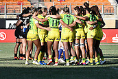3rd February 2019, Spotless Stadium, Sydney, Australia; HSBC Sydney Rugby Sevens; New Zealand versus Australia; Womens Final; Australia huddle before the final against New Zealand